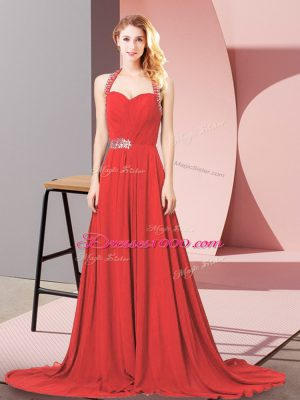 Colorful Chiffon Halter Top Sleeveless Brush Train Zipper Beading and Ruching Red Carpet Prom Dress in Red