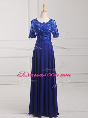 Affordable Half Sleeves Chiffon Floor Length Zipper Mother of the Bride Dress in Royal Blue with Lace and Appliques