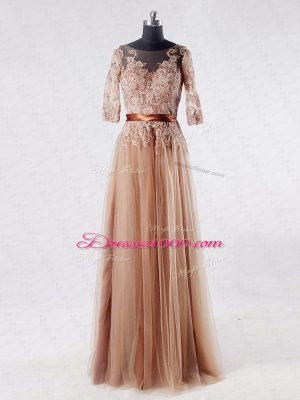 Glamorous Brown Empire Tulle Scoop Half Sleeves Lace and Appliques Floor Length Zipper Mother of Bride Dresses