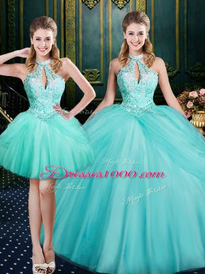 Aqua Blue Ball Gowns Tulle Halter Top Sleeveless Beading and Pick Ups Floor Length Lace Up Quince Ball Gowns