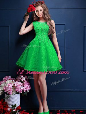 Chic Knee Length Green Wedding Guest Dresses Tulle Sleeveless Beading and Lace