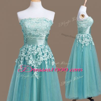 Amazing Light Blue Empire Appliques Vestidos de Damas Lace Up Tulle Sleeveless Tea Length