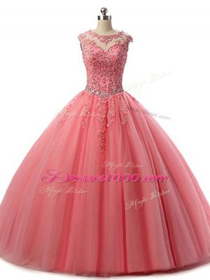 New Style Watermelon Red Lace Up Quince Ball Gowns Beading and Lace Sleeveless Floor Length