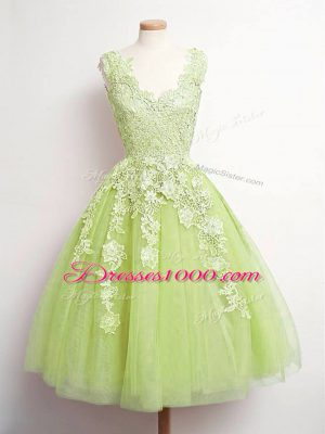 Yellow Green Tulle Lace Up Quinceanera Court Dresses Sleeveless Knee Length Lace