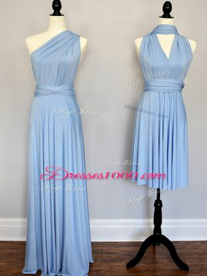 Captivating Light Blue Sleeveless Floor Length Ruching Lace Up Dama Dress for Quinceanera