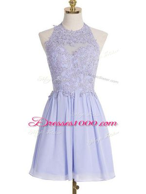 Affordable Chiffon Halter Top Sleeveless Lace Up Lace Bridesmaid Gown in Lavender