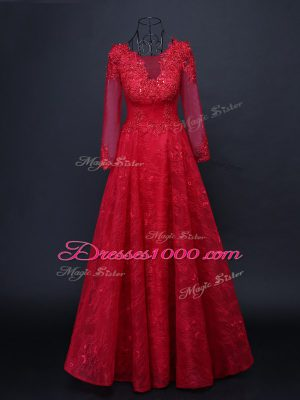 Red Tulle Lace Up Scoop Long Sleeves Floor Length Mother of Groom Dress Lace and Appliques