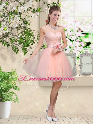 Peach A-line Tulle Sweetheart Sleeveless Lace and Belt Knee Length Lace Up Court Dresses for Sweet 16