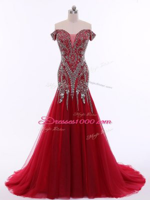 Sleeveless Brush Train Zipper Beading Homecoming Dress