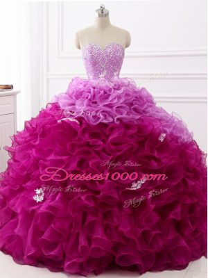 Customized Multi-color Ball Gowns Sweetheart Sleeveless Organza Brush Train Lace Up Beading and Appliques and Ruffles Quinceanera Gown