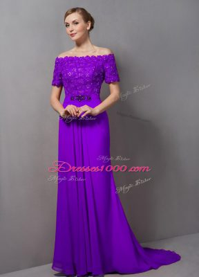 Fancy Eggplant Purple Zipper Mother of Bride Dresses Lace Short Sleeves Sweep Train