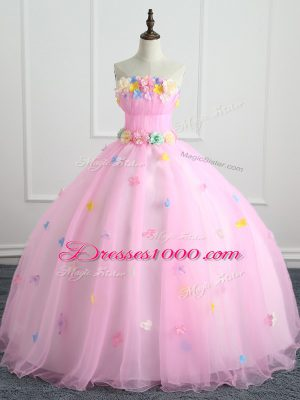 Pink Quinceanera Dress Military Ball and Sweet 16 and Quinceanera with Appliques and Hand Made Flower Strapless Sleeveless Lace Up