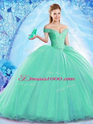 Sexy Turquoise Ball Gowns Beading 15 Quinceanera Dress Lace Up Organza Sleeveless