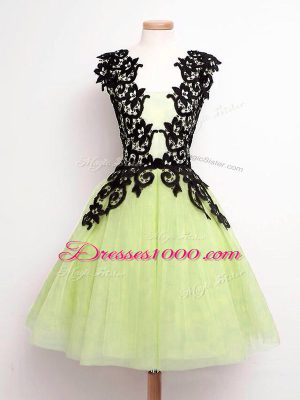 Sleeveless Tulle Knee Length Lace Up Wedding Party Dress in Yellow Green with Lace