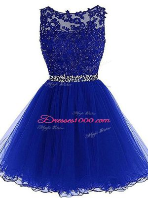 Customized Royal Blue A-line Beading and Lace and Appliques and Ruffles Zipper Tulle Sleeveless Mini Length
