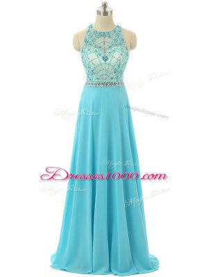 Sleeveless Chiffon Floor Length Zipper Homecoming Dress in Aqua Blue with Beading