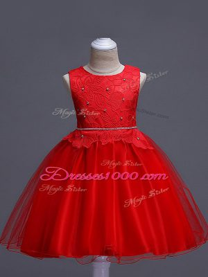 High End Sleeveless Lace Zipper Pageant Gowns For Girls