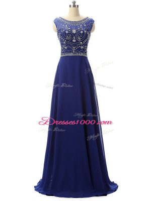 Customized Sleeveless Beading Zipper Prom Dress