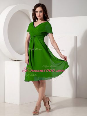 Low Price Green Mother Dresses Prom and Party with Ruching V-neck Short Sleeves Zipper