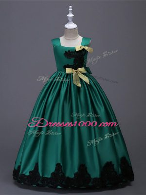 Floor Length Zipper Flower Girl Dress Dark Green for Wedding Party with Appliques and Bowknot