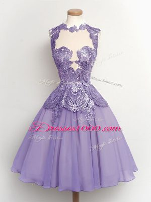 Knee Length Lace Up Wedding Guest Dresses Lilac for Party and Wedding Party with Lace