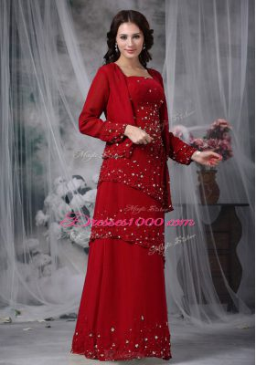 Floor Length Wine Red Mother Dresses Chiffon Sleeveless Beading