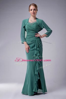 Excellent Green Zipper Straps Beading Mother of the Bride Dress Chiffon Sleeveless