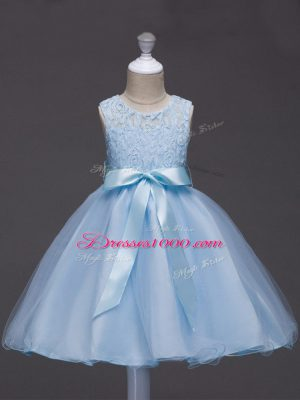 Light Blue Flower Girl Dress Wedding Party with Lace and Belt Scoop Sleeveless Zipper