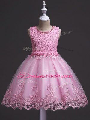 Knee Length Rose Pink Little Girl Pageant Dress Scoop Sleeveless Zipper