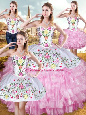 Eye-catching Organza and Taffeta Sleeveless Floor Length Sweet 16 Quinceanera Dress and Embroidery and Ruffled Layers