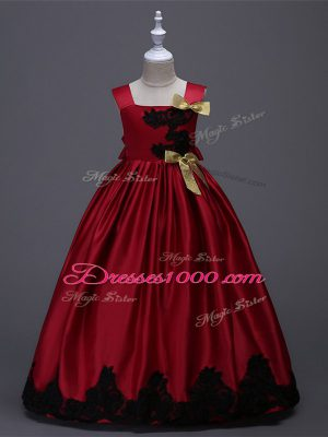 Floor Length Wine Red Party Dress Taffeta Sleeveless Appliques and Bowknot