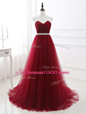 Attractive A-line Sleeveless Wine Red Brush Train Lace Up