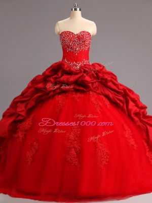 Simple Lace Up Quinceanera Gowns Red for Military Ball and Sweet 16 and Quinceanera with Beading and Appliques and Pick Ups Court Train