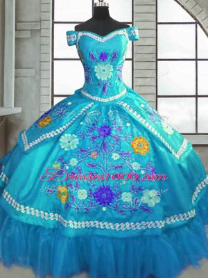 Sophisticated Teal Ball Gowns Taffeta Sweetheart Short Sleeves Beading and Embroidery Floor Length Lace Up 15th Birthday Dress