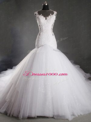 Lace Wedding Gown White Zipper Sleeveless Chapel Train