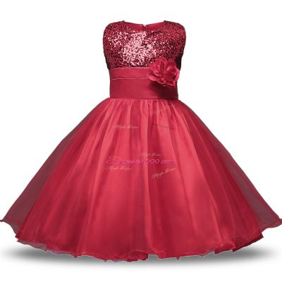 Wonderful Wine Red Zipper Scoop Bowknot and Belt and Hand Made Flower Flower Girl Dresses Organza and Sequined Sleeveless