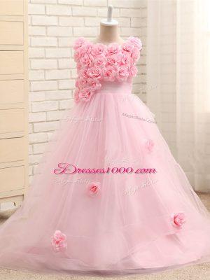 Hand Made Flower Little Girls Pageant Dress Wholesale Baby Pink Zipper Sleeveless Brush Train
