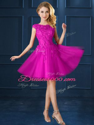 Discount Knee Length A-line Cap Sleeves Fuchsia Bridesmaid Gown Lace Up