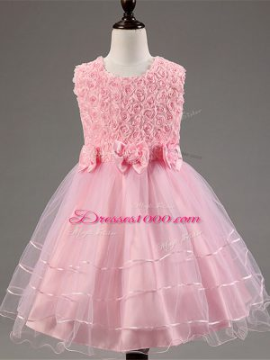 Custom Made Baby Pink Zipper Little Girls Pageant Gowns Ruffled Layers and Hand Made Flower Sleeveless Knee Length