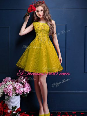 Knee Length Lace Up Wedding Party Dress Yellow for Prom and Party with Beading and Lace