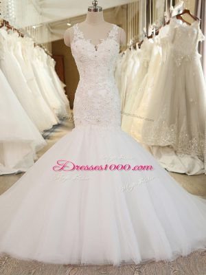 White V-neck Neckline Beading and Appliques Wedding Dresses Sleeveless Clasp Handle