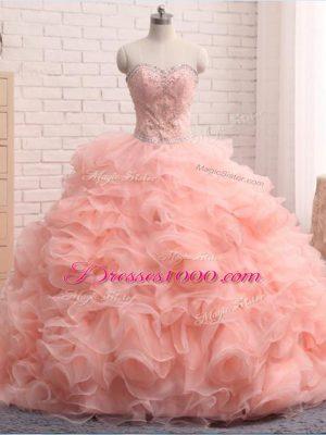 Wonderful Pink Sweetheart Neckline Beading and Ruffles Quince Ball Gowns Sleeveless Zipper