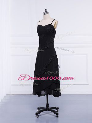 Black Chiffon Zipper Straps Sleeveless Tea Length Mother of the Bride Dress Lace and Appliques