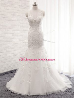 Excellent White Clasp Handle Wedding Gown Lace Sleeveless Brush Train