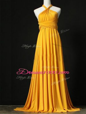 Comfortable Sweep Train Empire Bridesmaid Dress Orange Halter Top Chiffon Sleeveless Criss Cross