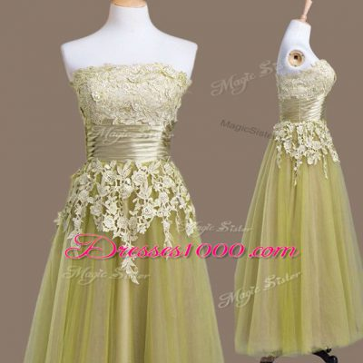 Gorgeous Strapless Sleeveless Tulle Dama Dress Appliques Lace Up