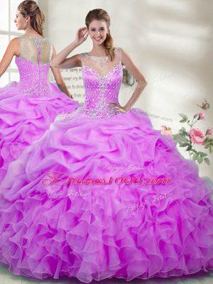 Glittering Lilac Zipper Sweet 16 Quinceanera Dress Beading and Ruffles Sleeveless Floor Length
