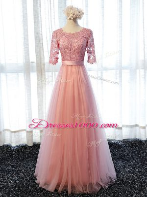 Cheap Floor Length Pink Wedding Party Dress Tulle Half Sleeves Lace