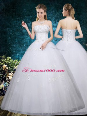 White Organza Lace Up Wedding Gown Sleeveless Floor Length Beading and Appliques