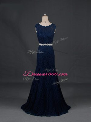 Floor Length Backless Mother of Bride Dresses Navy Blue for Prom and Military Ball and Sweet 16 and Beach with Beading